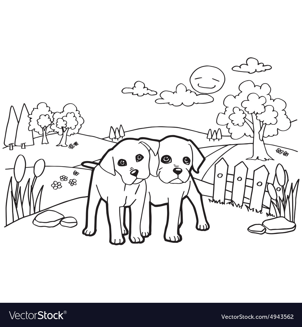 Coloring book with dogs Royalty Free Vector Image