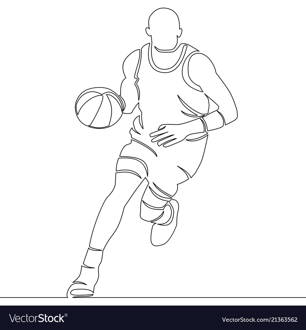 Continuous line drawing of basketball player
