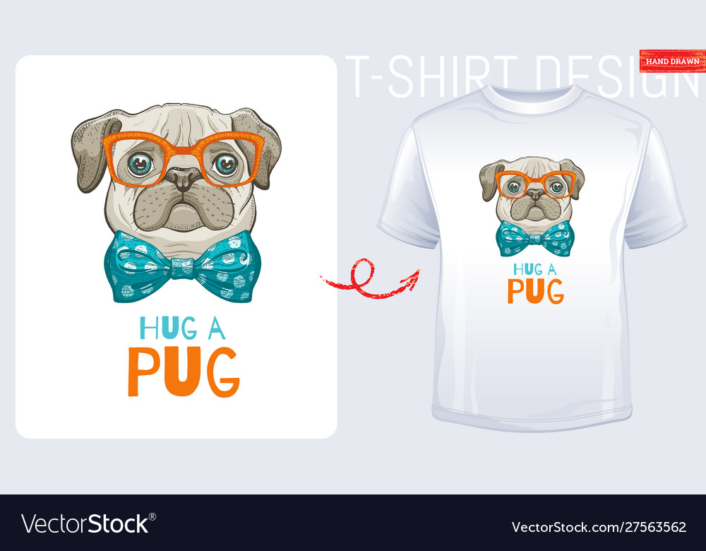 Cute pug dog t-shirt print design cool puppy