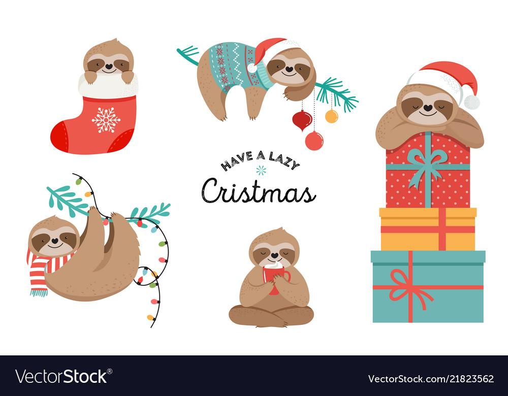 Christmas Humor Clip Art.Cute Sloths Funny Christmas With
