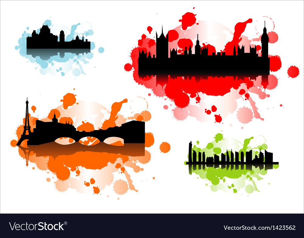 Detailed silhouettes of world cities