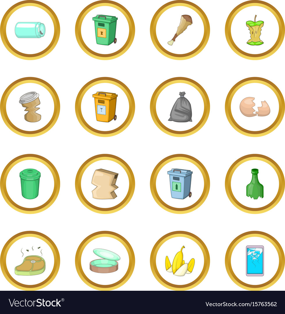 Garbage items icons circle