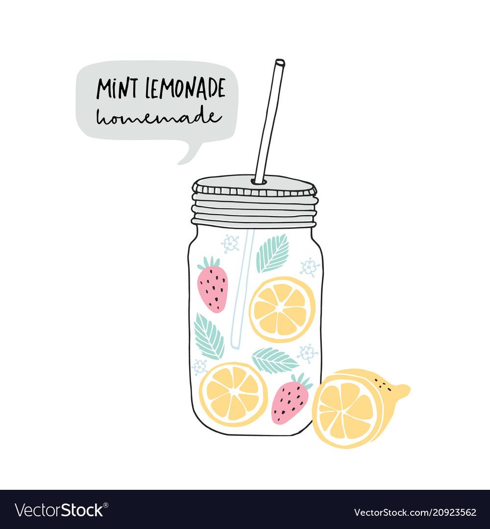 Hand drawn glass jar with lemonade made of lemon vector image