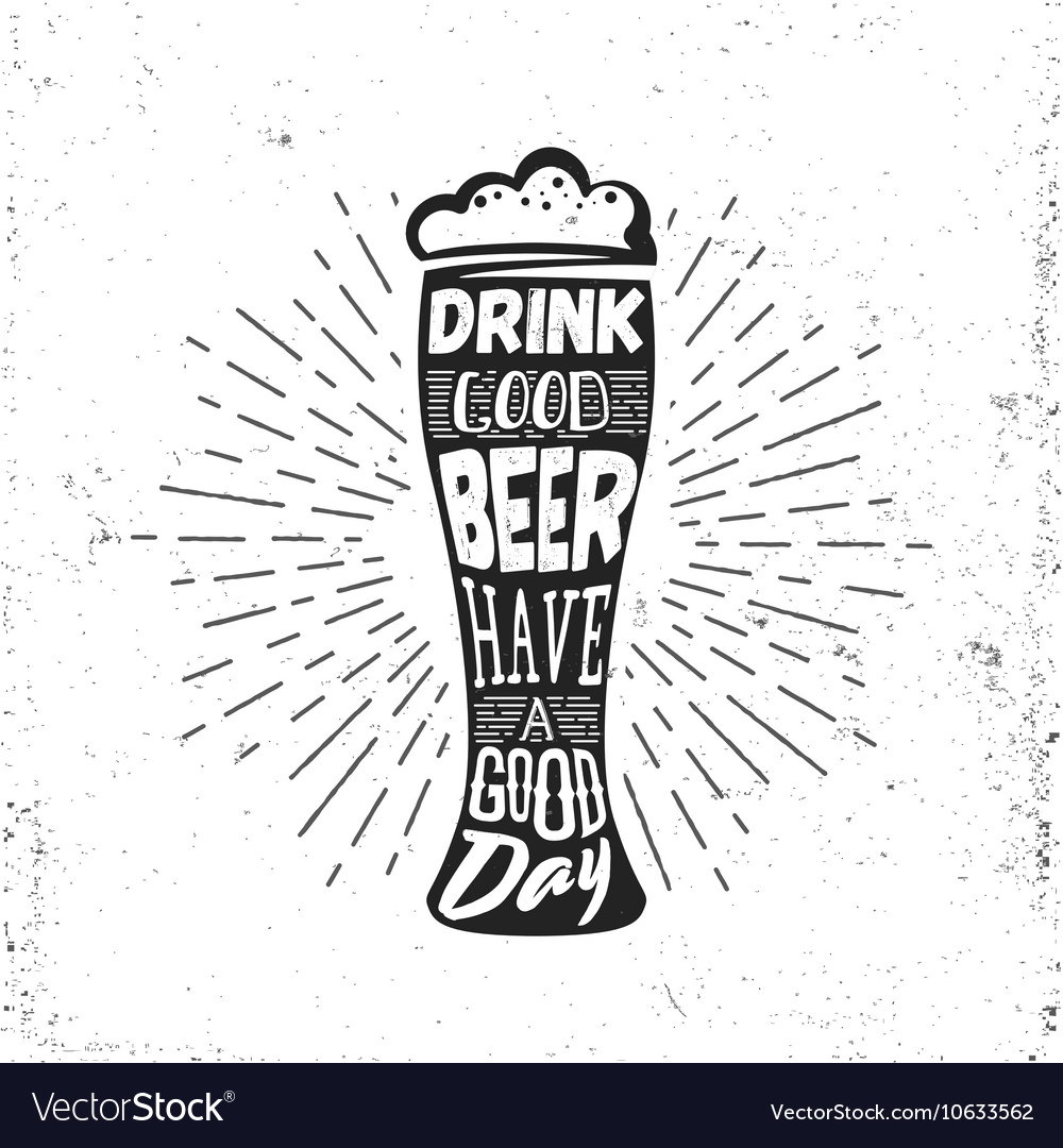 Hand drawn vintage label with beer bocal sunburst vector image