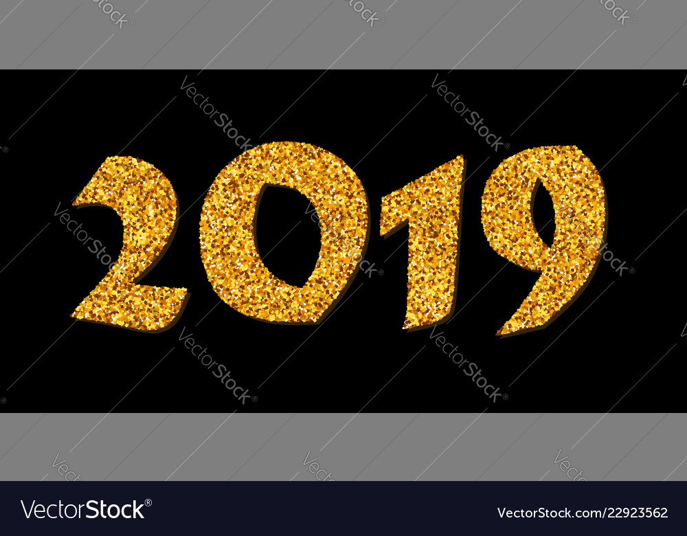 happy new year card bright gold number 2019 with vector image