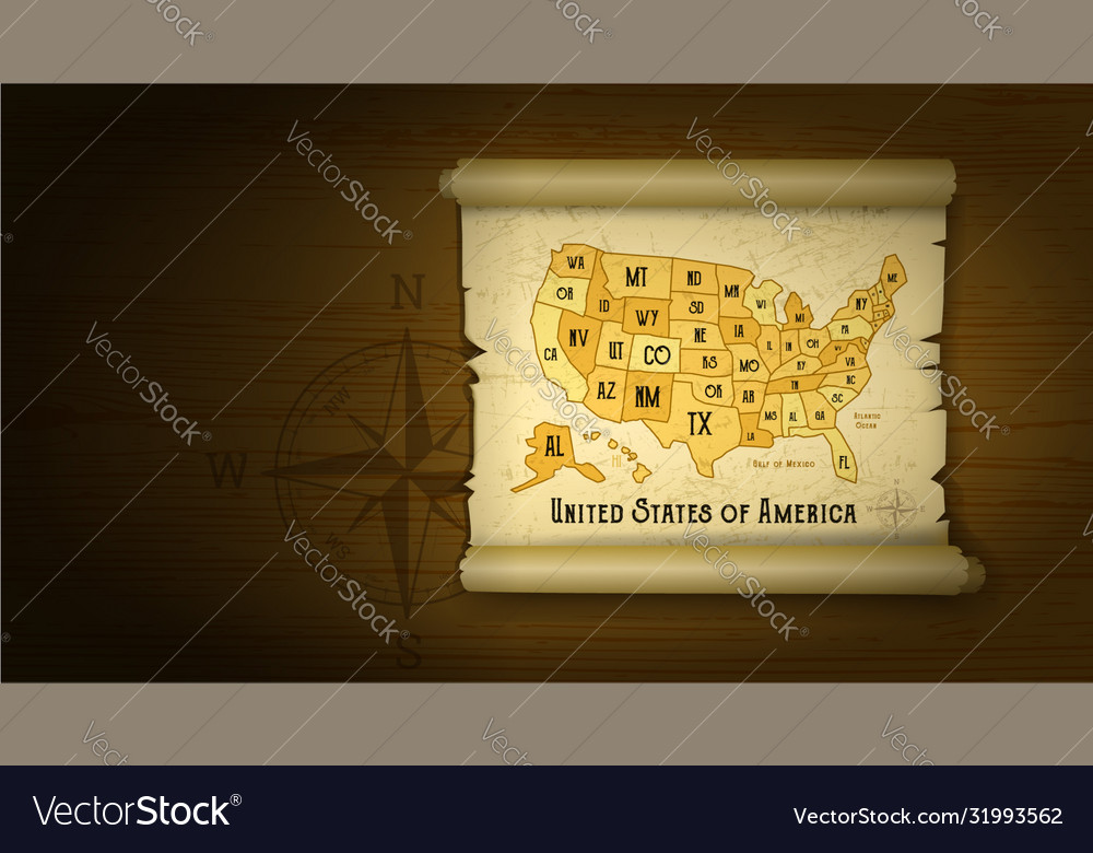 Old usa map on wooden background