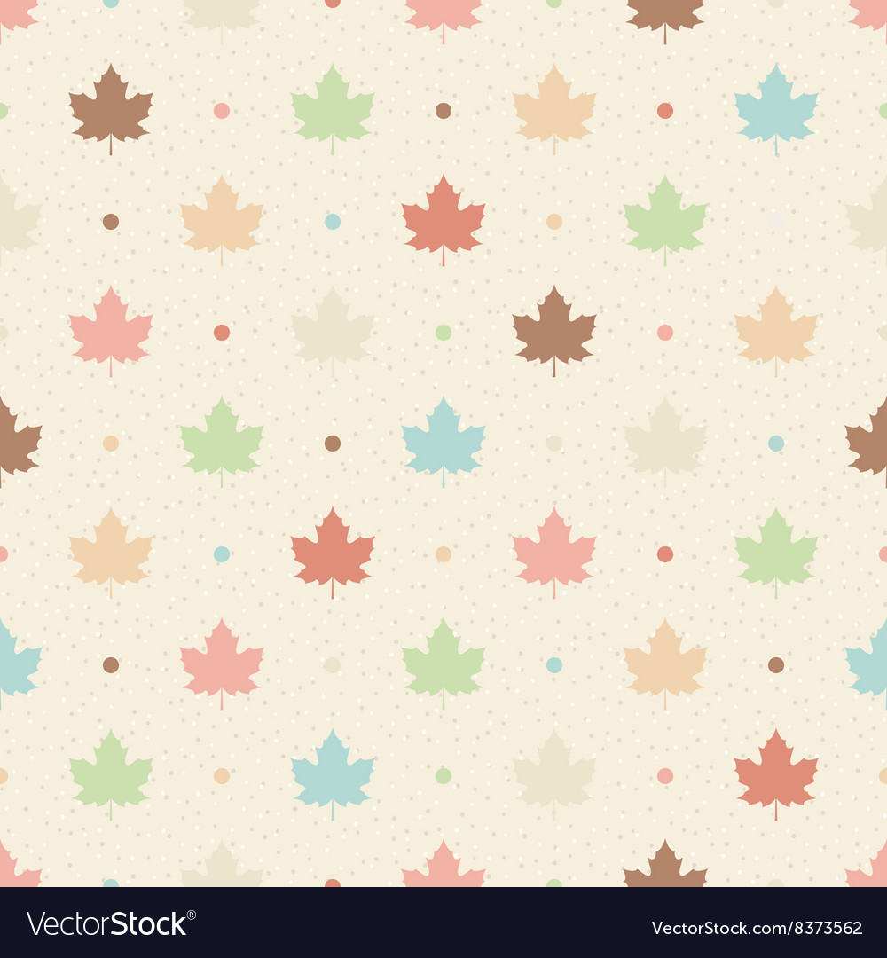 Retro seamless pattern Color maple leaves and dots