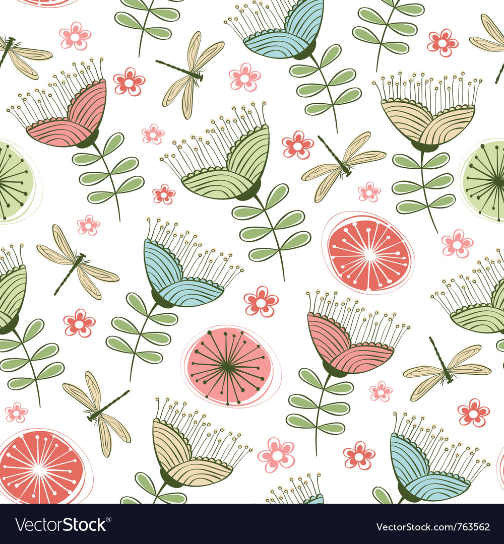 Seamless vintage flower pattern line art vector
