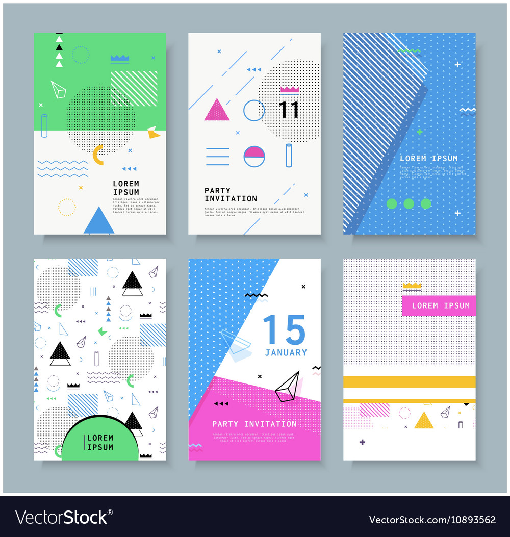Set invitation with geometric shapes royalty free vector set invitation with geometric shapes vector image stopboris Choice Image