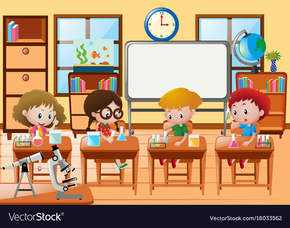 students doing experiment in science class vector image
