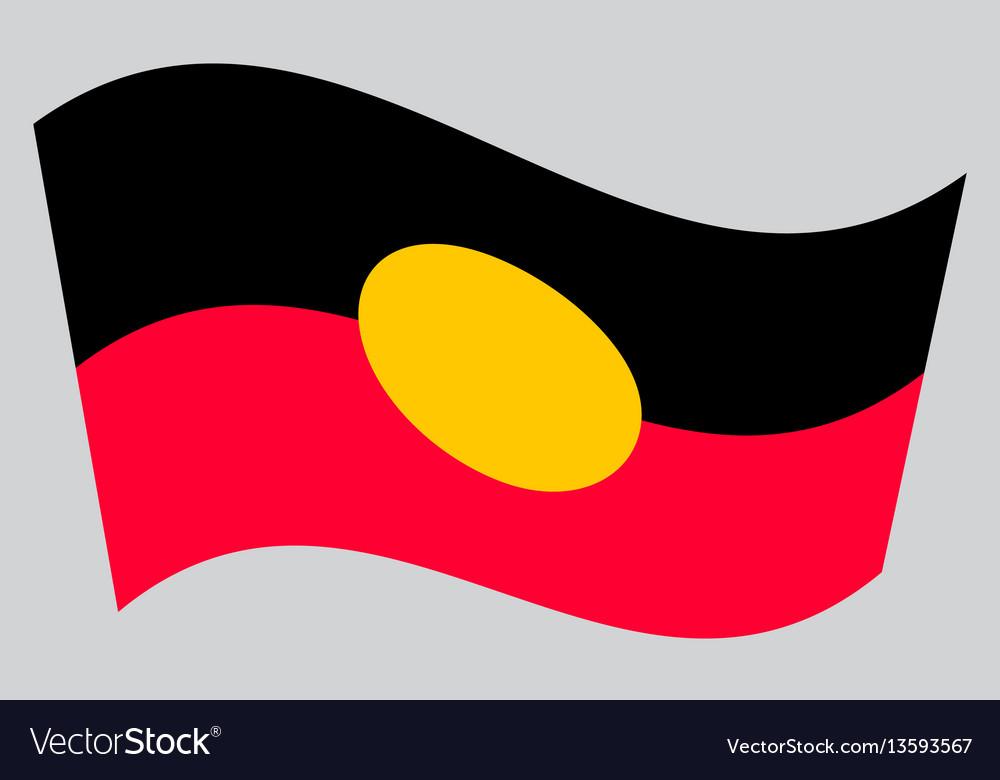 Australian aboriginal flag waving gray background vector image
