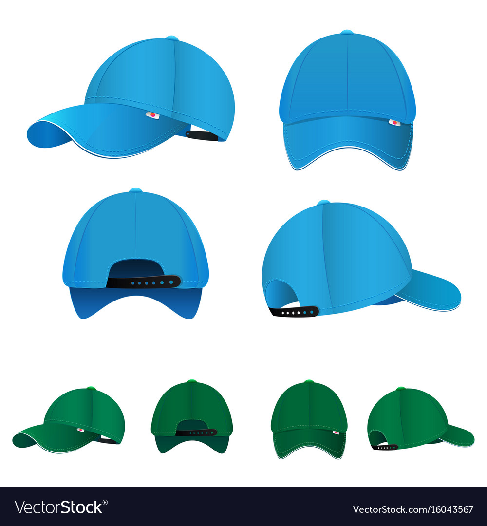 Blank baseball caps in different sides and colors