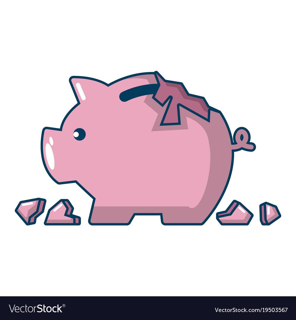 Broken piggy bank icon cartoon style Royalty Free Vector