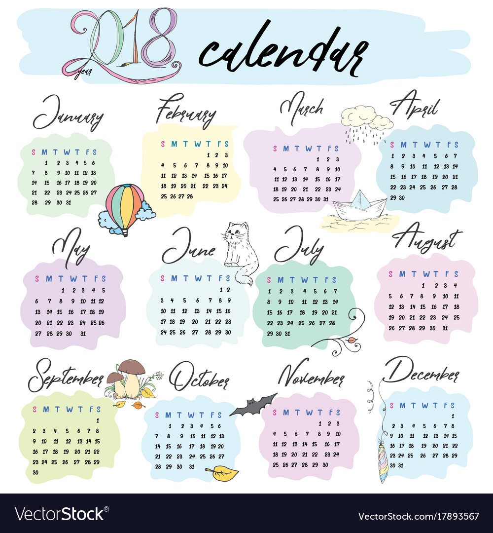 Calendar grid area for 2018 for vector image