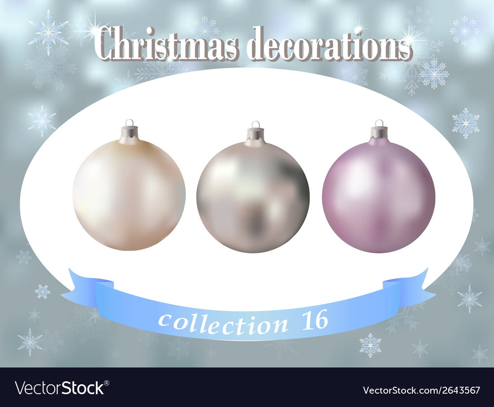 Christmas decorations collection of white silver vector image