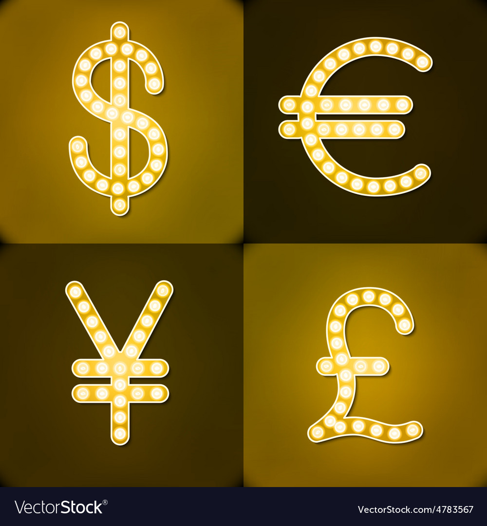 Currency Signs Dollar Euro Pound Yen Gr Badge Vector Image