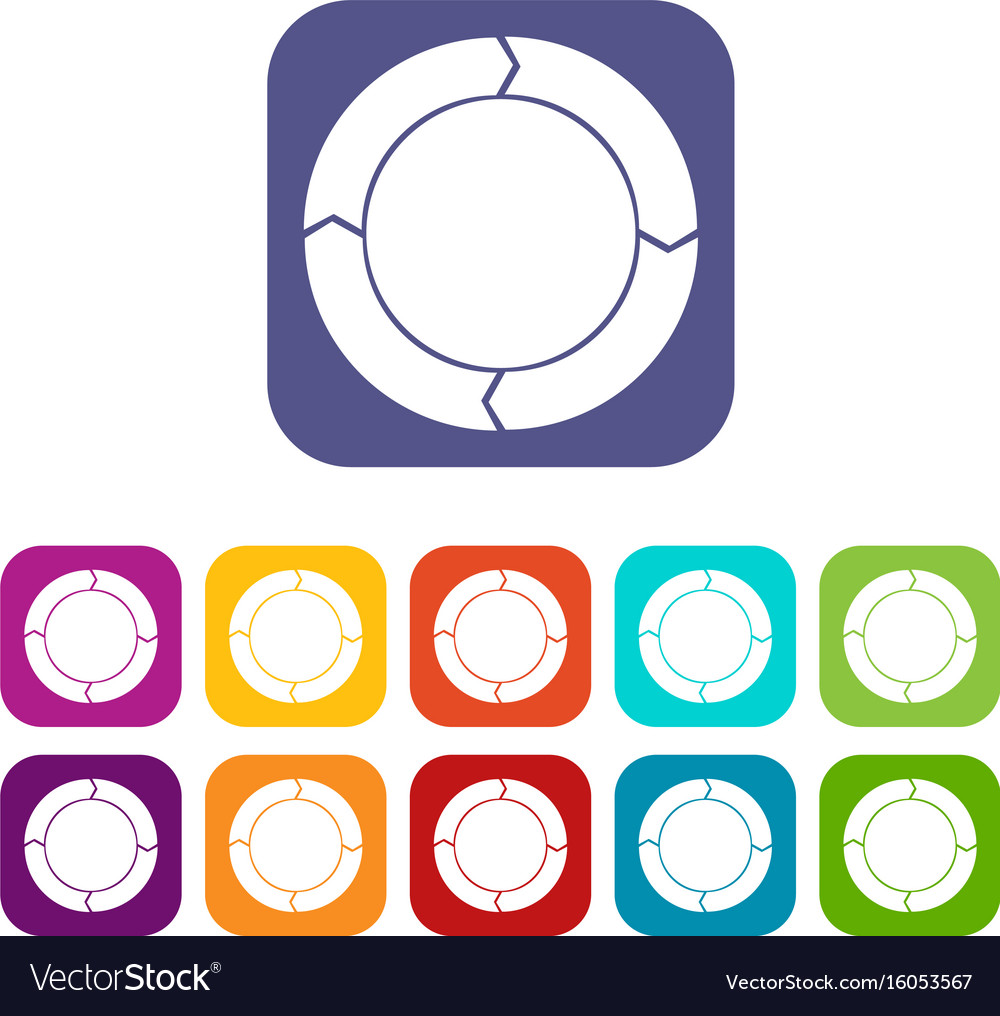 Diagram pie chart with arrows icons set