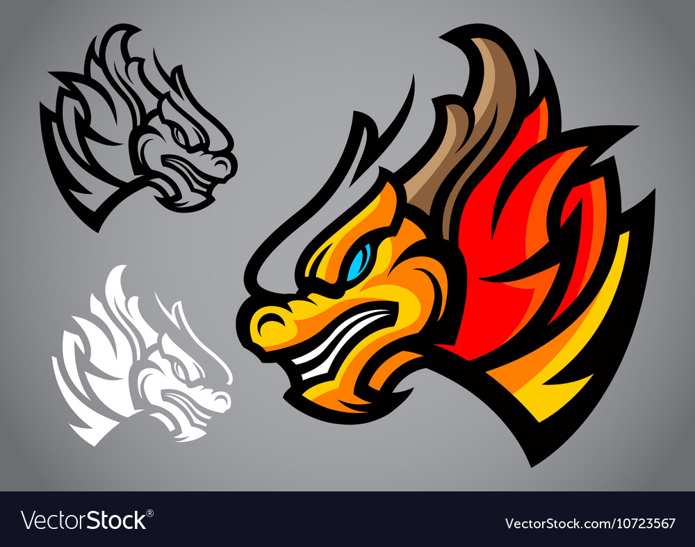 Dragon gold head emblem logo