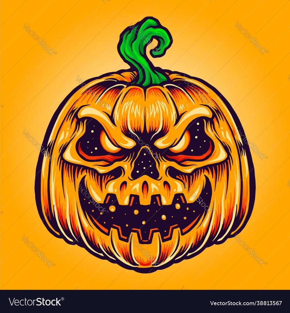 Halloween pumpkin creepy smile