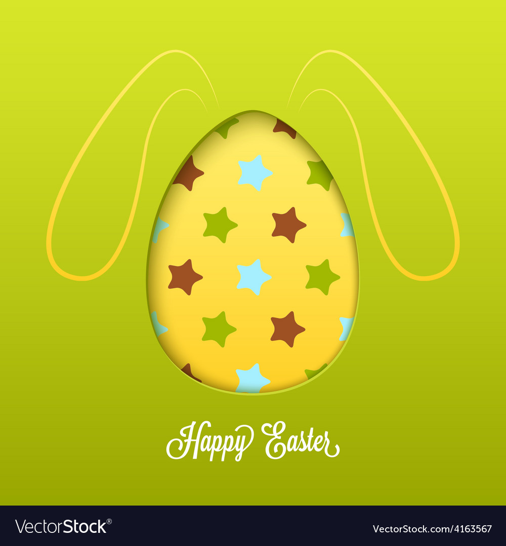 Happy easter card with cut egg and line rabbit