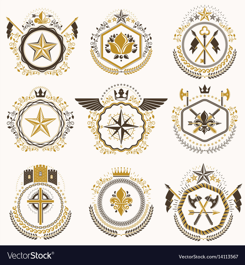 Heraldic decorative emblems made with royal