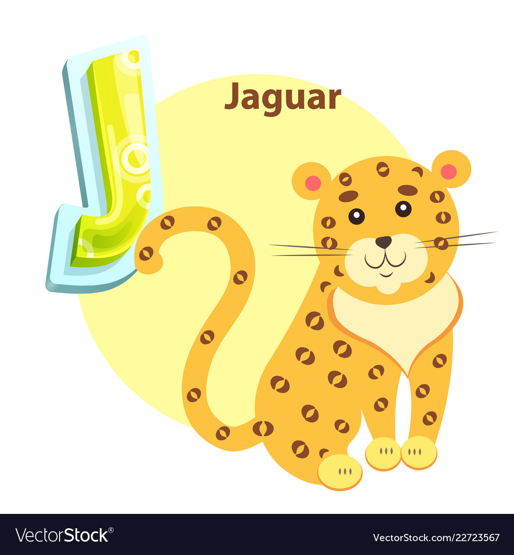 Jaguar on children alphabet