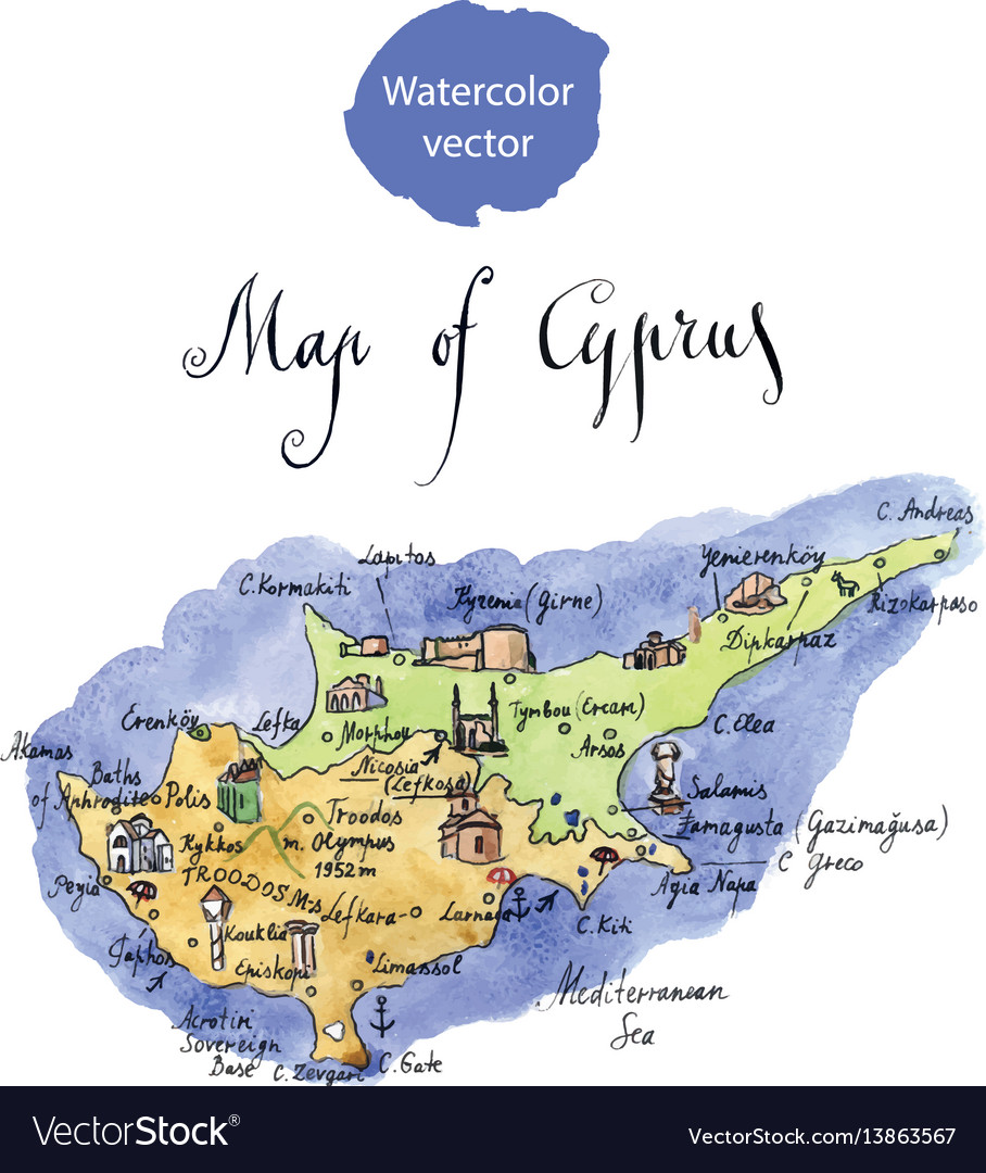 Map of attractions of cyprus Royalty Free Vector Image