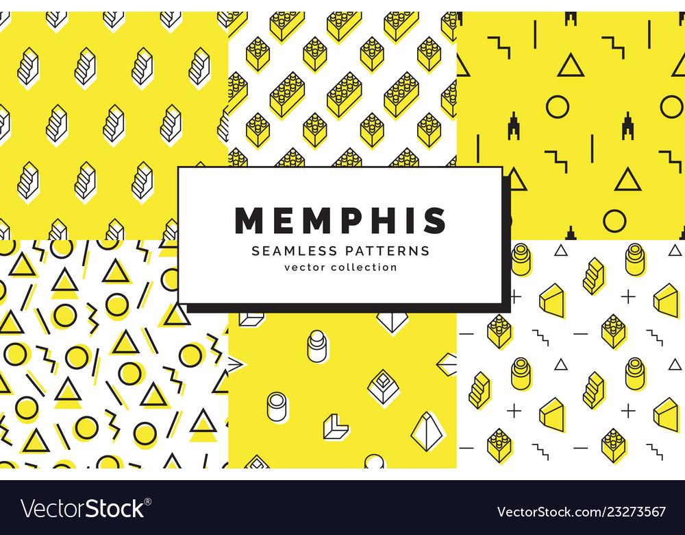 Memphis seamless patterns set