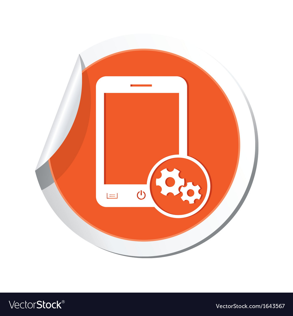 Phone settings icon orange sticker vector image
