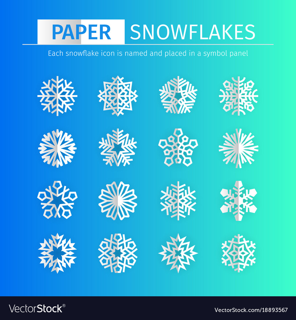 Ppaer snowflakes icons set vector