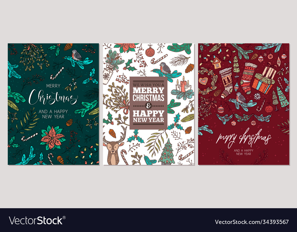 Set christmas holiday greeting cards or posters