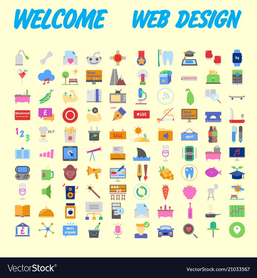 Set of multicolored icons for your design