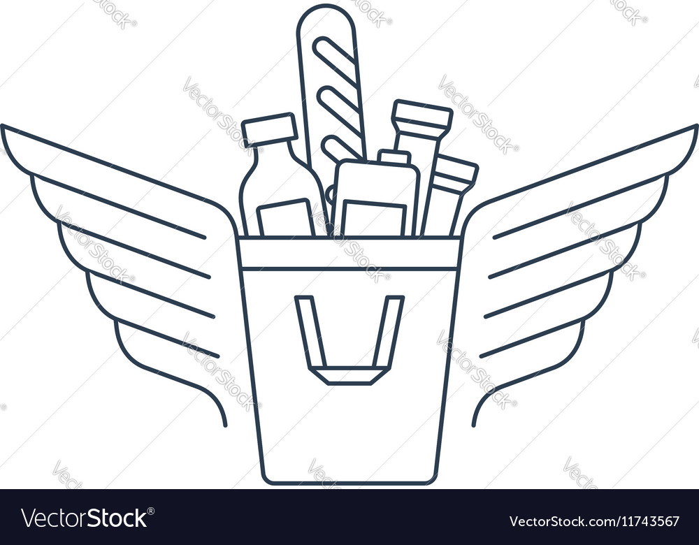 Shopping bag with food icon and logo vector image