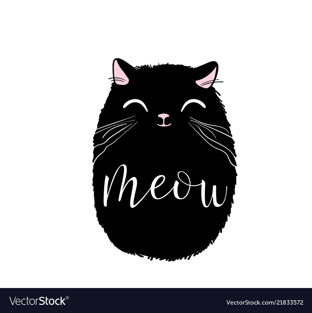 Black cute cat print design meow lettering