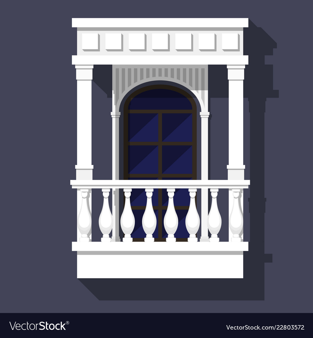 Classic style balcony with balusters gables and
