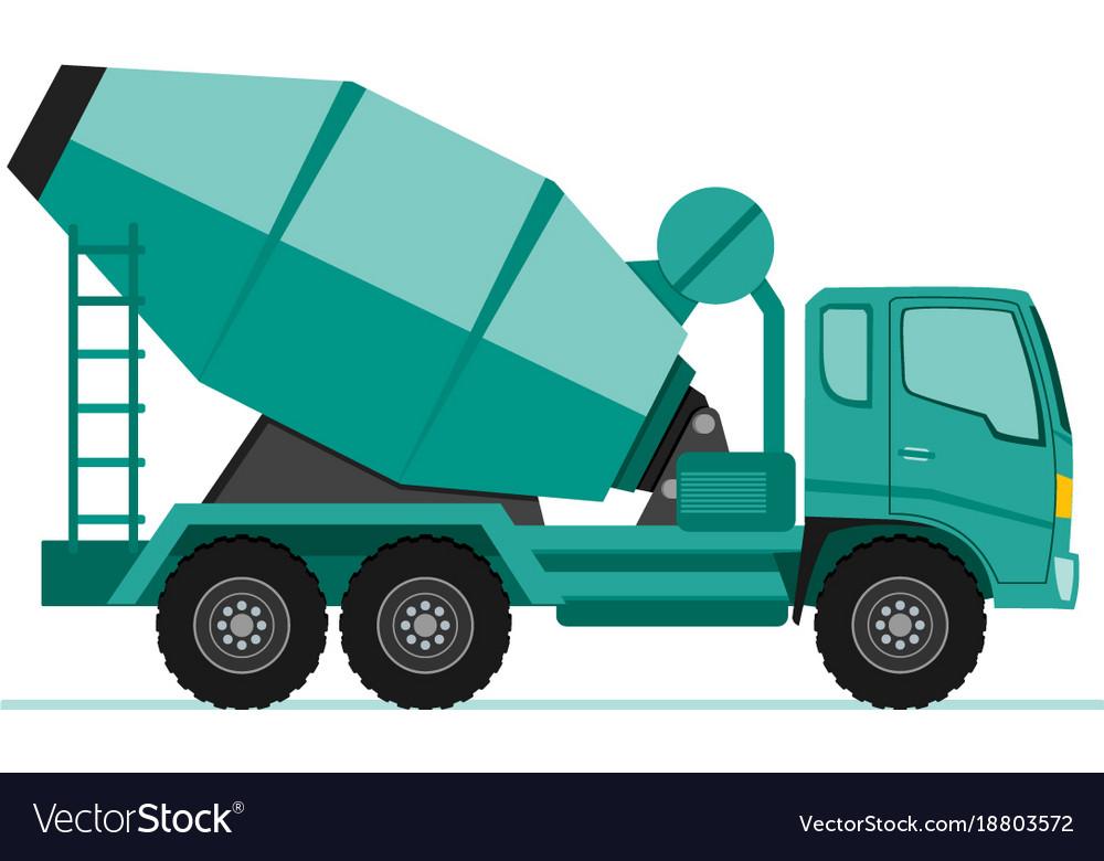 Concrete cement mixer truck icon in flat design