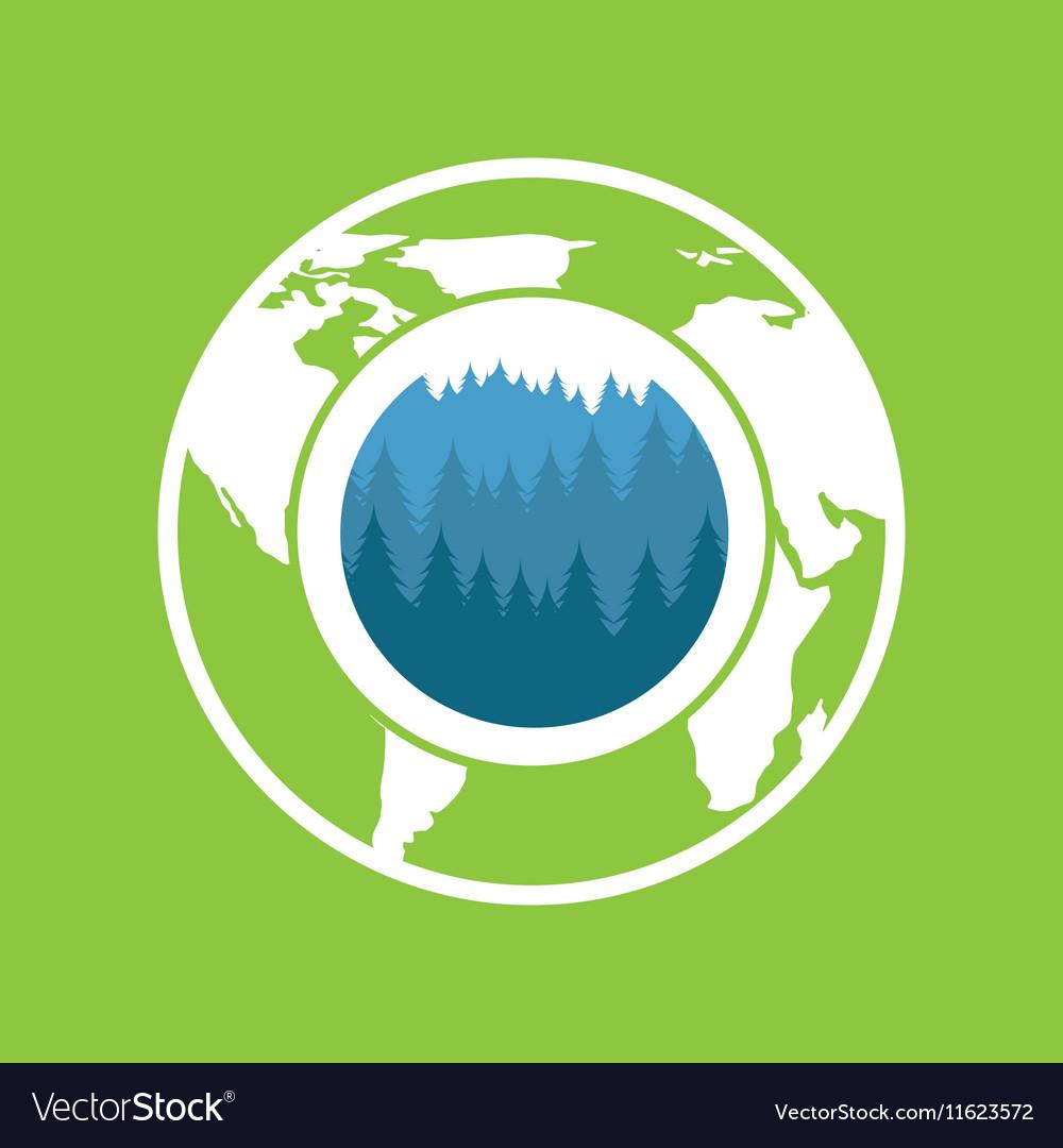 Environment care globe landscape icon graphic