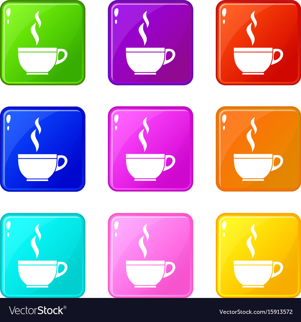 Glass cup of tea icons 9 set vector image