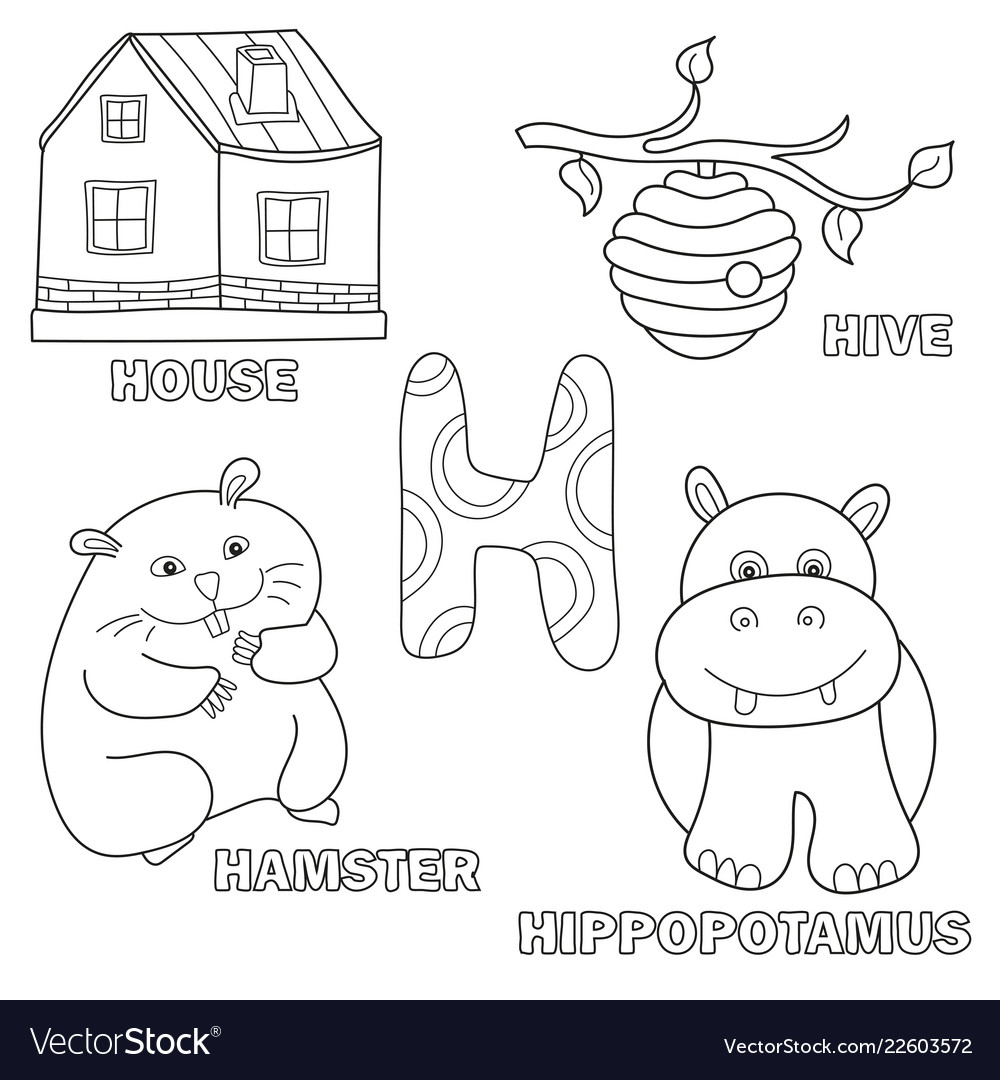 Kids alphabet coloring book page with outlined