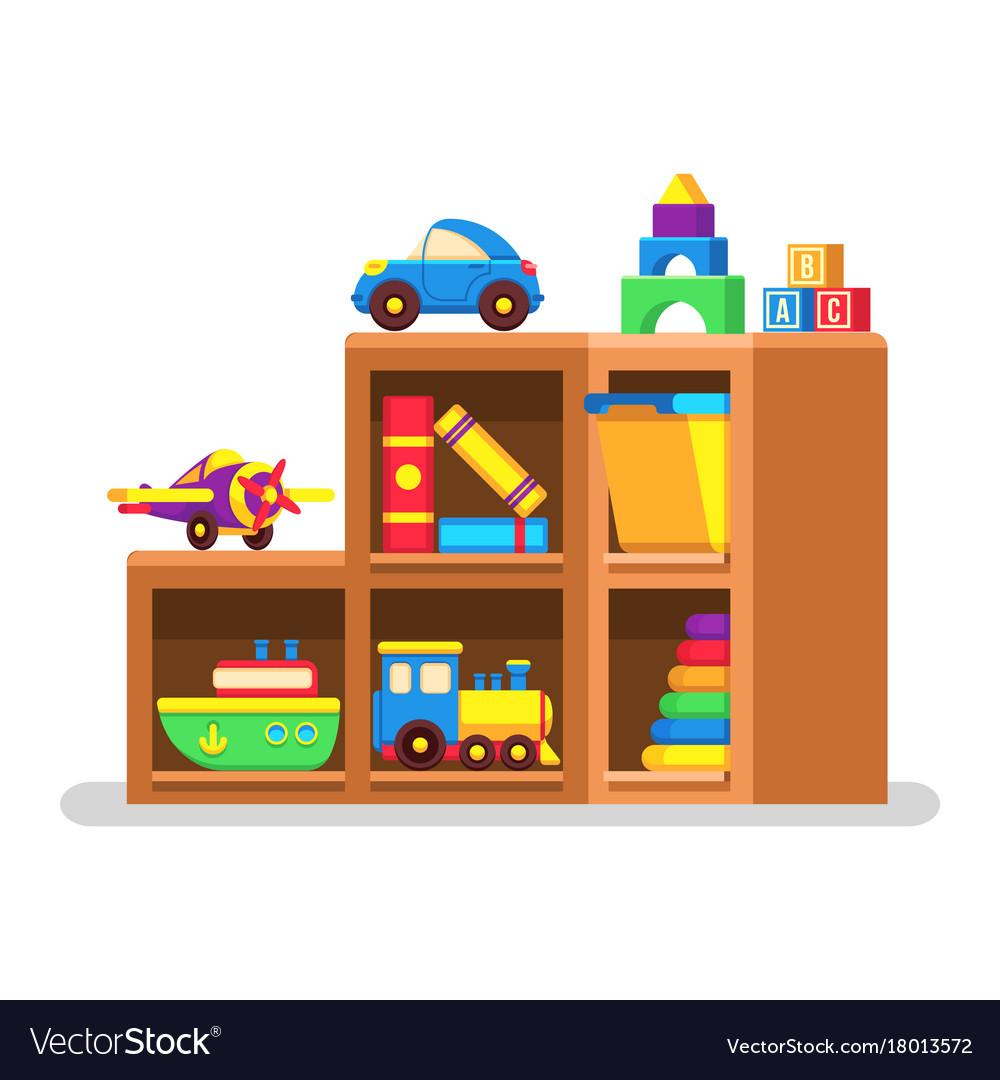 Kids toys on wood rack