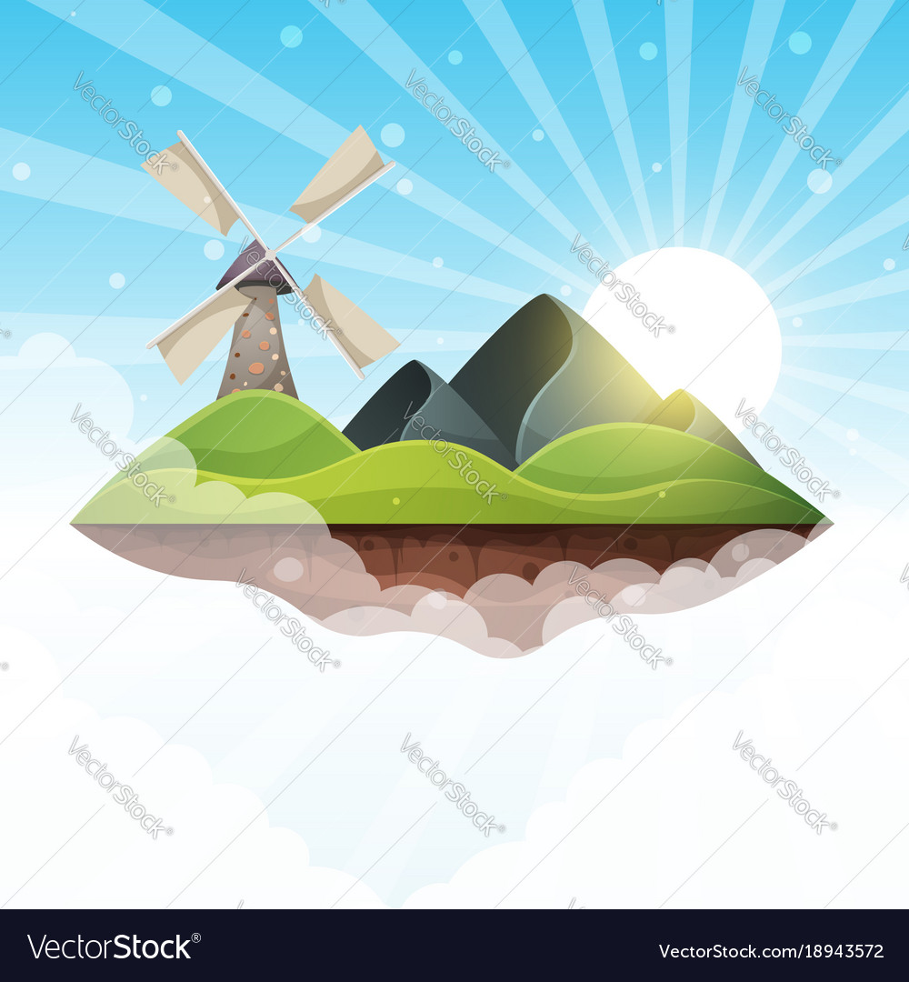 Mill island mountain sun hill