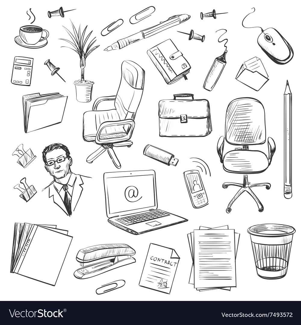 Office equipment isometric Set of icon