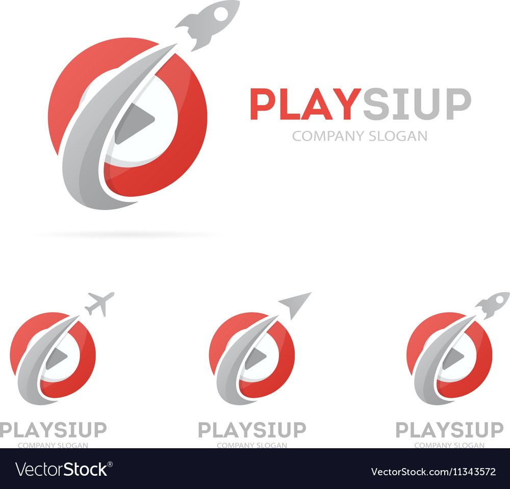 Rocket and play button logo combination