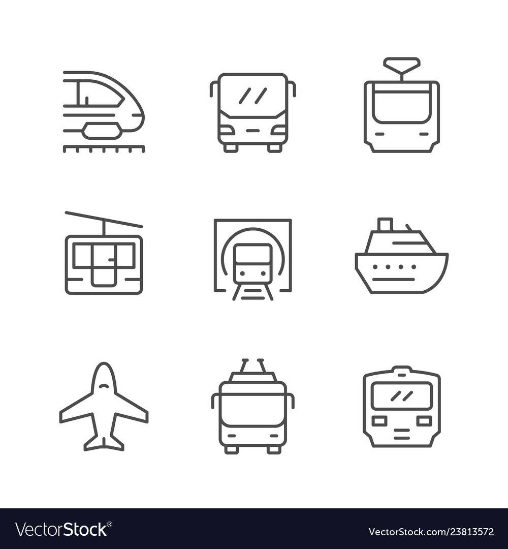 Set line icons of public transport