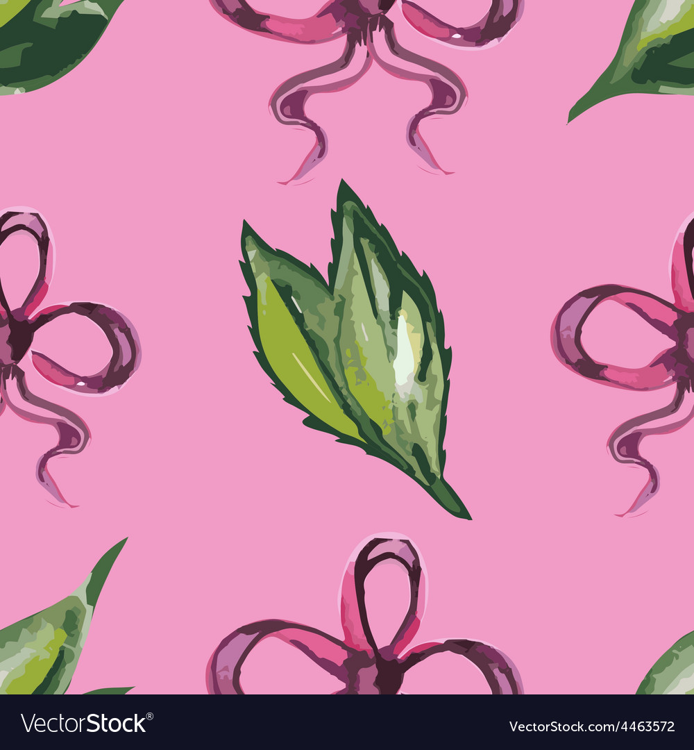 Watercolor seamless pattern with leaves and red