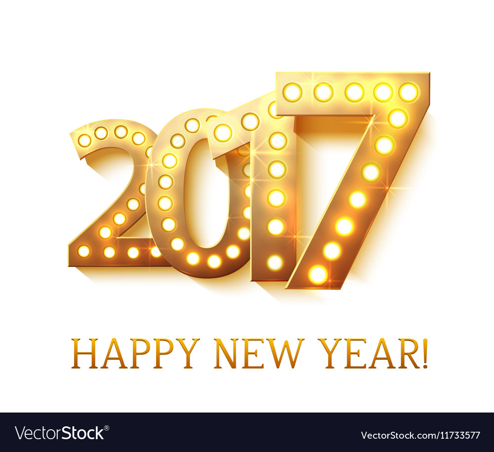 2017 new year symbol with light bulbs