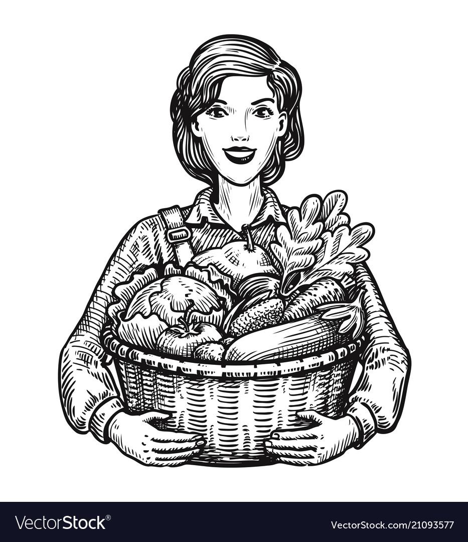 Beautiful girl or happy farmer holding a wicker