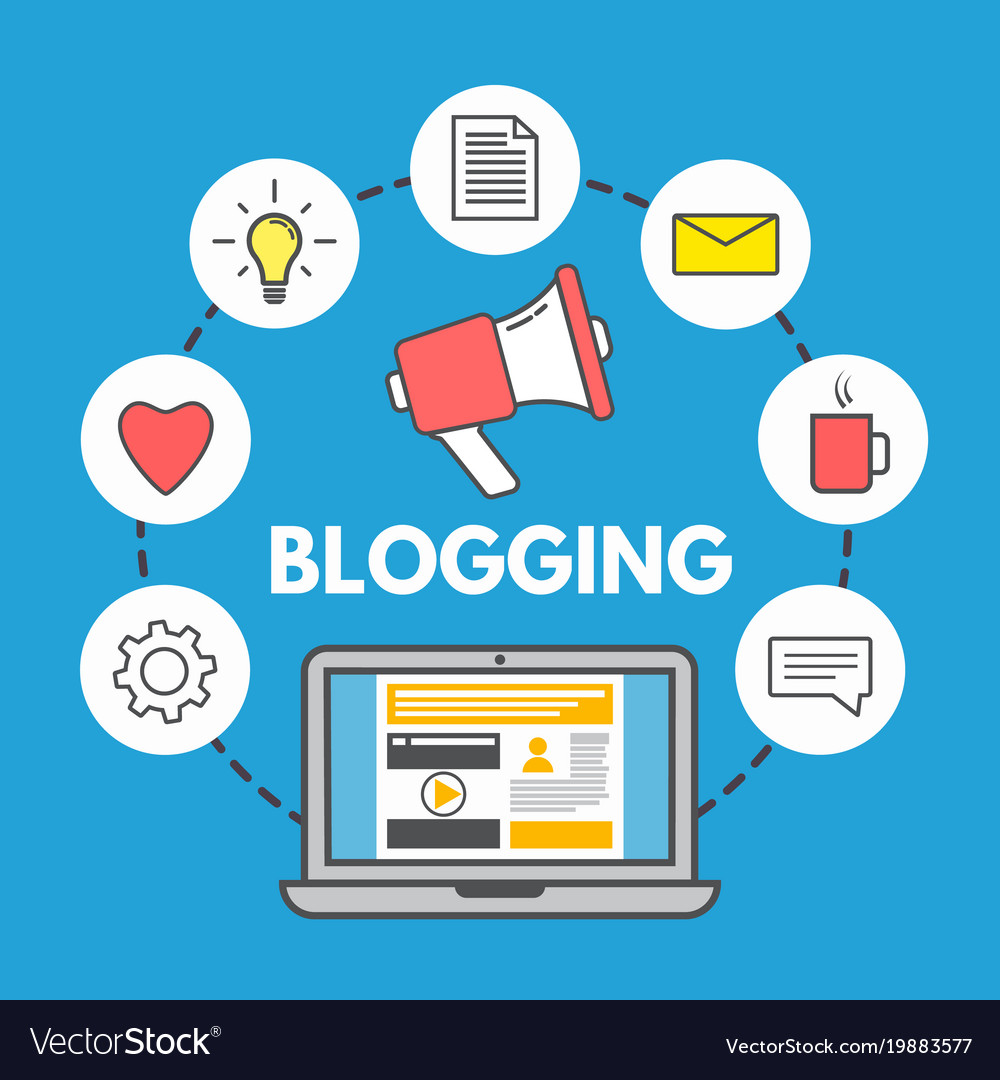 Blogging concept on blue background laptop and