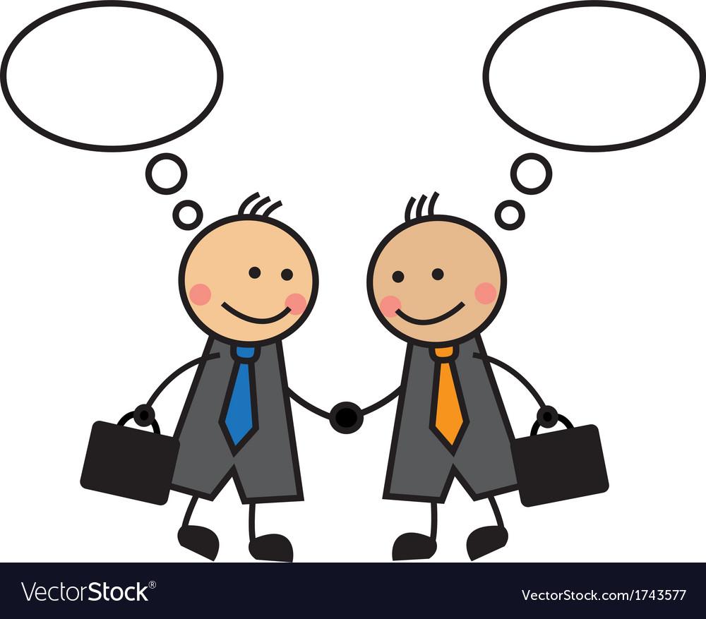 cartoon businessmen shaking hands royalty free vector image rh vectorstock com shaking hands cartoon drawing shaking hands cartoon drawing