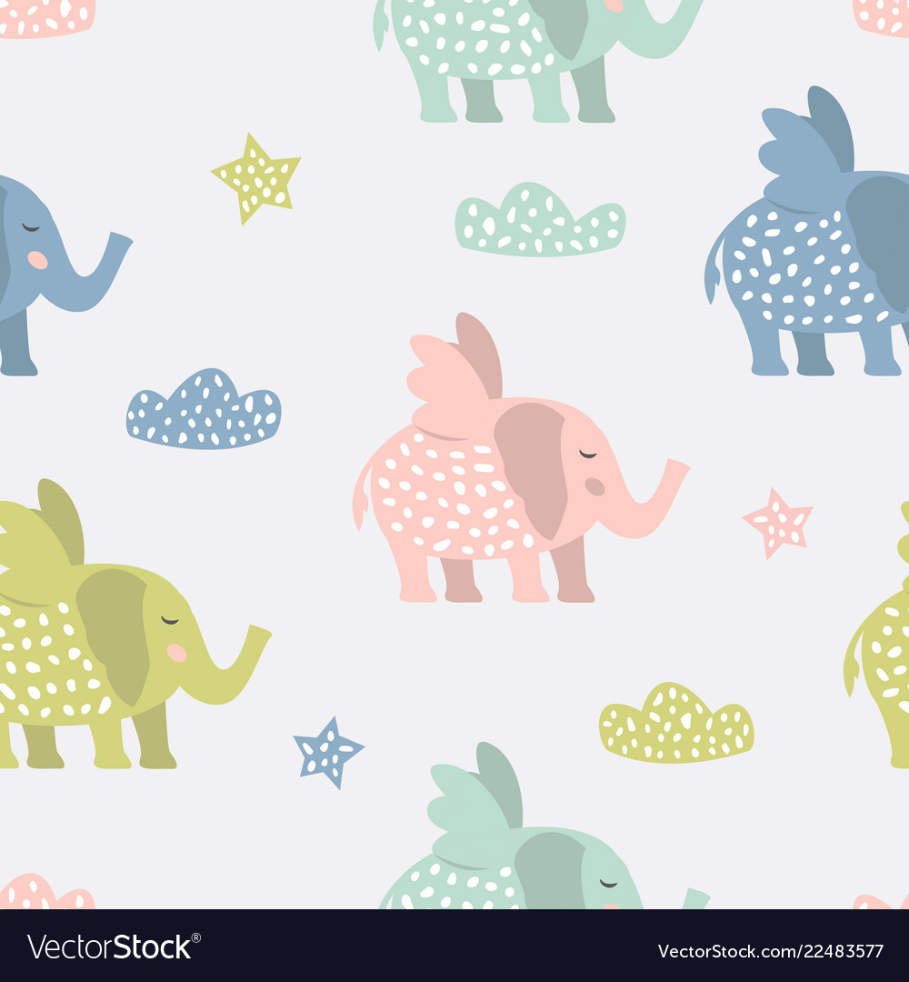 Childish seamless pattern with cute elephants
